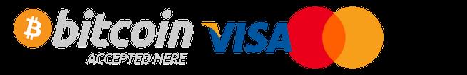 Paiement par Visa, Mastercard, Bitcoin